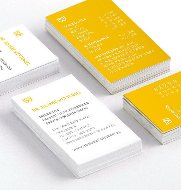 Visitenkarten hochformat Gelb